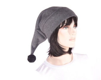 Stocking Cap Gray Elf Hat Long Pointed Beanie with Pompom Long Pointed Beanie