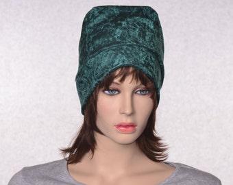 Ladies Beanie in Dark Forest Green Panne Velvet Slouchy Beanie Hat Crushed Velvet Cap  Boho Gypsy Beanie