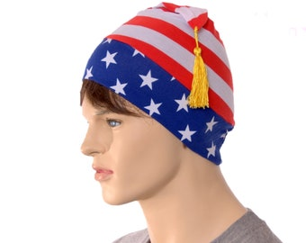 America Patriotic Phrygian Cap Stars Stripes Red White and Blue Pointed Hat with Tassel USA Liberty Cap Cosplay