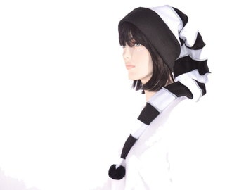 Goth Long Stocking Cap Black White Striped Elf Hat Gothic Punk Long Beanie Tail Adult Cosplay