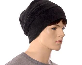 Black Beanie Slouchy Hat Fleece Watchman Cap Unisex Adult Men Women