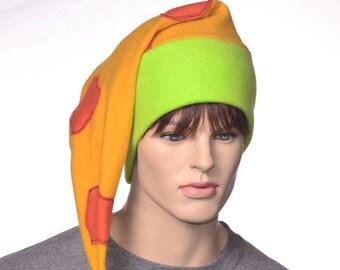 Elf Stocking Cap Patchwork Gold Orange Neon Green Costume Hat Pompom Long Pointed Hat Fleece Cosplay