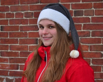 Goth Stockin Hat Charcoal Gray Sherpa Headband Grey Elf Cap Long Stocking Cap with Pompom Fuzz Ball