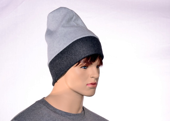 Mens Slouchy Beanie Hat Gray and Black Barretina Style Cap  946c7a00ccd