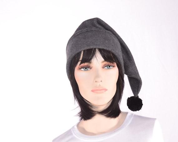 Gris anthracite bas Long bonnet lutin chapeau pointu Bonnet avec pompon pointu  Long bonnet 90c0c799cb7
