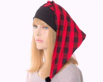 Christmas Night Cap Buffalo Plaid Red Black Pointed Nightcap with Pompom Cotton Adult Men Women