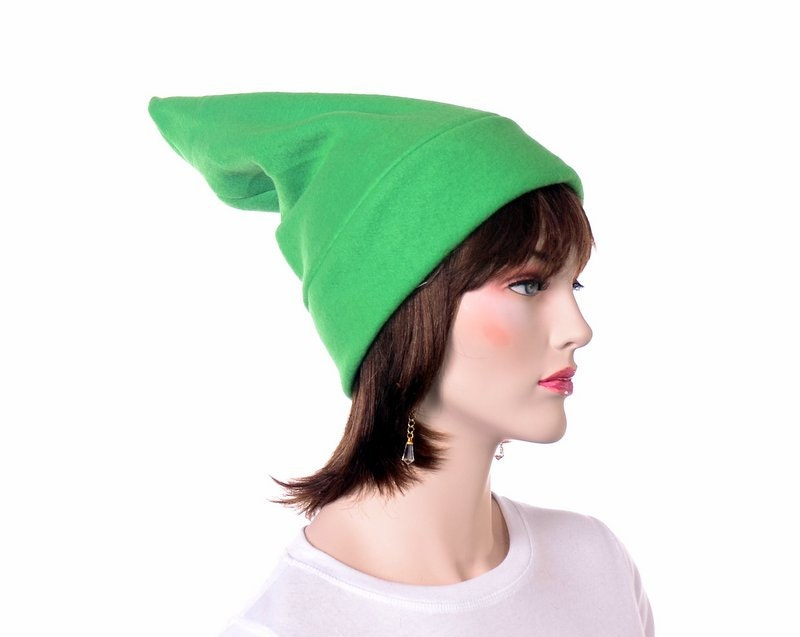 10ce74e7 Green Stocking Cap Elf Hat Pointed Hat Bright Green Pointy Beanie Adult