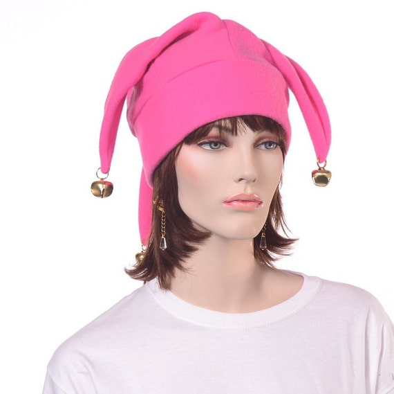 eafc1e132 Bubblegum Pink Jester Hat 3 Points with Gold Bells Harlequin Cap Adult