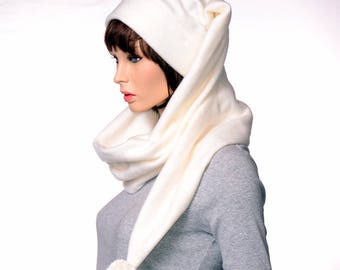 Stocking Cap Extra Long Wrap Around Scarf Hat 5 ft long with Pompom Cream Tail Hat Fleece Tail Hat