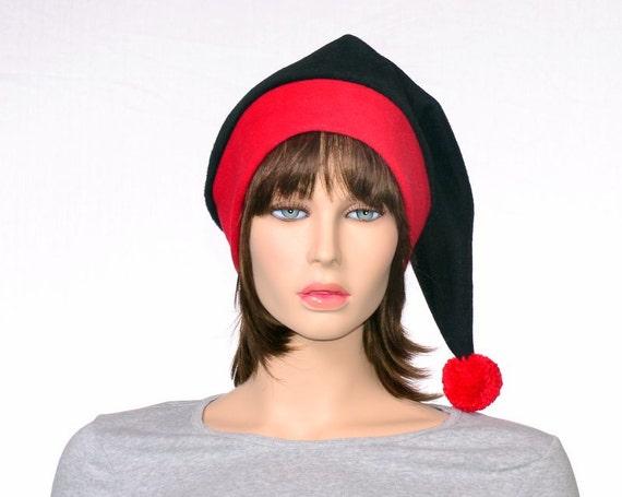 0012d89f16a39 Stocking Cap Black Red Toboggan Hat Goth Elf Hat Gothic Pointed Adult