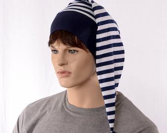Night Cap Navy White Striped Nightcap with Pompom Cotton Adult Men Women Blue Pirate