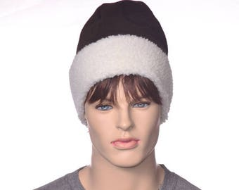 Beanie Hat Sherpa and Brown Fleece Four Panel Warm Winter Hat Dark Brown Cap Cossack