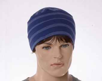 Cotton Beanie Woodworker Cap Artisan Unisex Adult Men Women Lightweight Blue Stripes