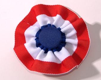 Tri-Color Red White Blue Cockade Ribbon Hat Trim Brooch Patriotic Rosette Cosplay