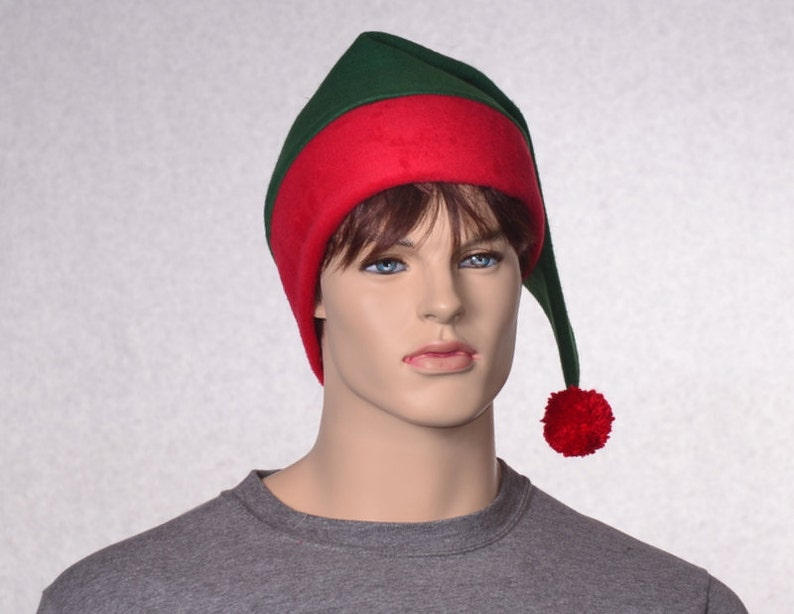 Green Red Stocking Cap Red Brim Christmas Elf Hat Green Santa Hat Unisex Adult Red Green Point With Pompom