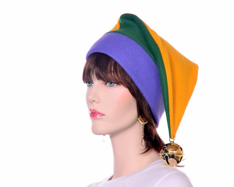 Jester Stocking Cap Purple Green Gold with Oversized Bell Party Hat 713595bf921