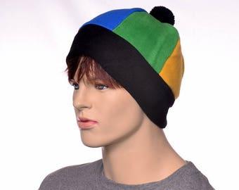 Rainbow Beanie Cap Fleece Six Panel Beanie with Black Headband and Pompom Pride