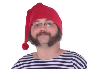 Mr Smee Hat Red Stocking Cap Pompom Unisex Mens Womens Adult Fleece Cosplay