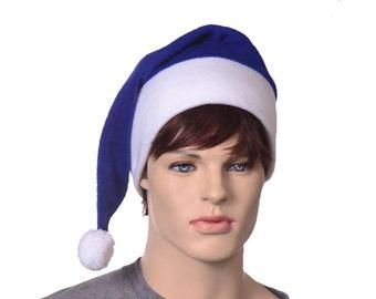 Stocking Cap Royal Blue White Tail Hat Men Women Adult Pompom Long Beanie Women Elf Warm Winter Hat