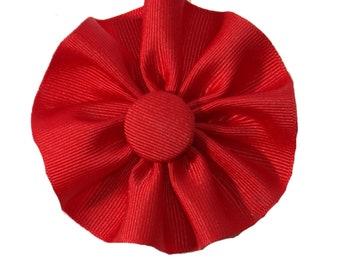 Red Cockade Ribbon Hat Trim Brooch Loyalist Rosette Cosplay