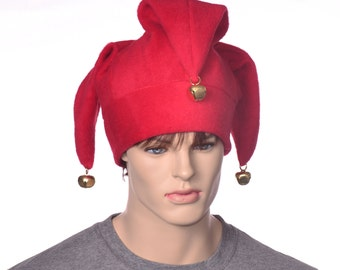 Jester Hat Red Three Pointed Joker Halloween Costume Hat with Bells Cosplay