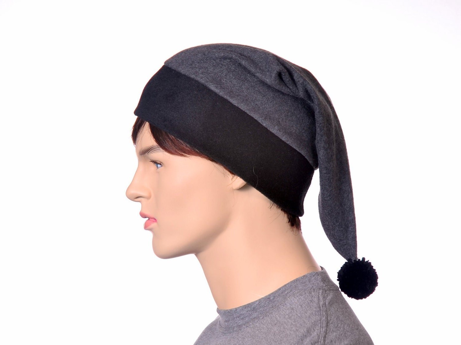 d08263f1f93 Gray Stocking Cap Extra Large Mens Hat Womens Hat Long Pointed Elf ...