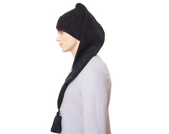 Extra Long Stocking Cap Black Tassel Goth Santa Hat Long Tail Hat Fleece Hygge Waist Length