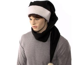 Black Stocking Cap Extra Long Coil Pompom Sherpa Headband Wrap Around Fleece 5 ft long