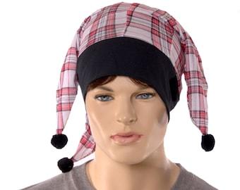 Jester Hat White Red Black Plaid Lightweight Renaissance  Fools Cap
