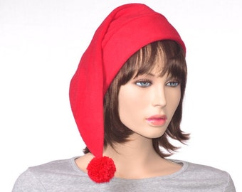 Red Stocking Cap Adult Fleece Holiday Hat With Long Tail Christmas Elf Hat Christmas