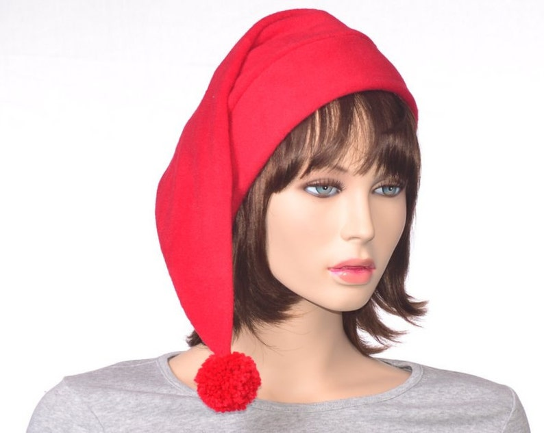 a297285fc2c7f Bright Red Stocking Cap Adult Fleece Hat With Long Tail