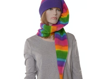 Brilliant Rainbow Extra Long Stocking Cap Wrap Around Scarf Hat 5 ft long Pompom Neon Colors Tail Hat Fleece