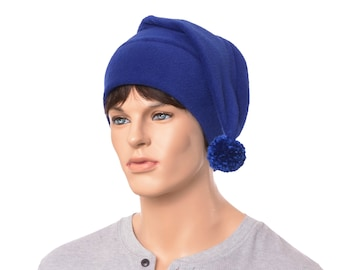 Stocking Cap Royal Blue Tail Hat Men Women Adult Pompom Long Beanie Women Elf Warm Winter Hat