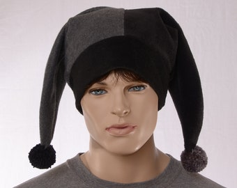 Harlequin Jester Cap in Gray Black Fleece With Bells with Two Tails Pompom Dark Colors Clown Cosplay