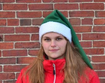 Green Stocking Cap Dark Forest Green Sherpa Headband Long Elf Hat Warm Winter Hat Victorian Tail Hat Adult Cosplay