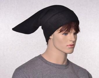 Black Stocking Cap Elf Hat Pointed Dark Dwarf Cap Long Beanie Pointed