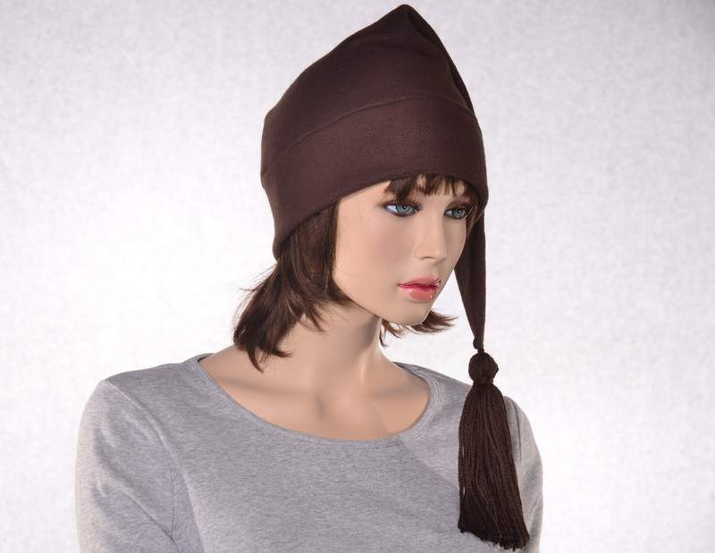 c2f39f4b Brown Stocking Cap Long Pointed Hat with Tassel Warm Winter Beanie ...