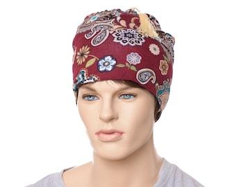 Paisley Smoking Cap in Burgundy Beanie Nightcap Tassel Polyester Knit Adult Men Women Holiday Pajamas Hat