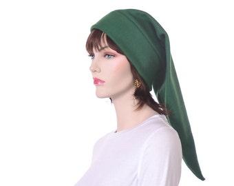 Dark Green Elf Hat Adult Mens Womens Costume Pointed Long Stocking Cap Warm Winter Beanie Cosplay