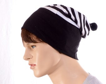 Black White Striped Artisan Beanie Lightweight Nightcap Chemo Cap Gothic Stripes Sleep Hat