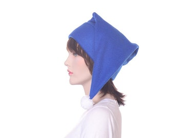 Royal Blue Stocking Cap with White Pompom Long Pointed Beanie Hat Adult Man Women Fleece Hat