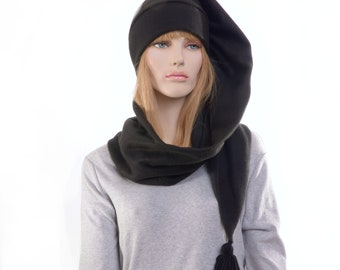Extra Long Stocking Cap Black Adult Men Women Scarf Hat 5 Foot Long Tail Hat with Tassel