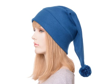 Peacock Blue Stocking Cap Pointed Beanie with Pompom Adult Men Women Unisex Hat
