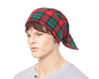 Flannel Nightcap Cotton Red Christmas Plaid Night Cap Sleep Hat Unisex Men Women Adult