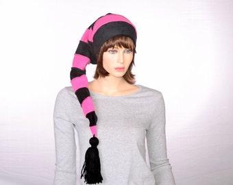Bubblegum Pink Black Stocking Cap  Long Beanie Hat Costume Mens Hat Womens Hat Neo Goth Nightmare Hat
