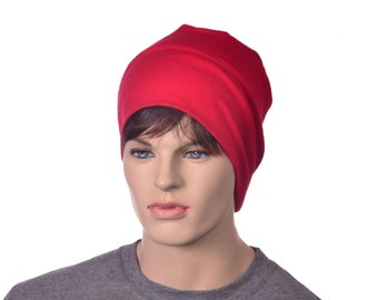 Red Nightcap Adult Woman Man Night Cap Sleep Hat Cotton Round Sleeping Beanie Pajama Hat Scrub Chemo