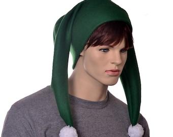 Jester Hat Harlequin Cap Dark Green White Pompom Two Tail Fleece Mardi Gras Carnival Cosplay