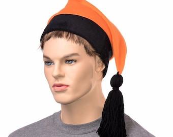 Stocking Cap  Orange Black Mens Fleece Hat Halloween Goblin Tassel Unisex Adult