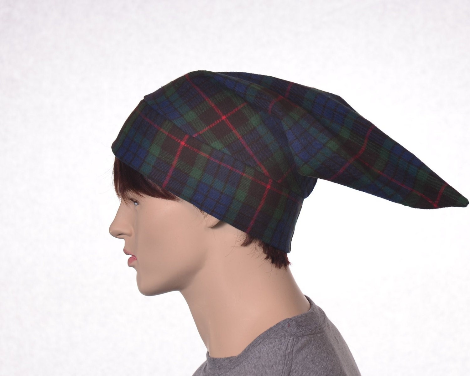 c5338849ac Cotton Flannel Night Cap in Green Tartan Plaid Heavyweight ...
