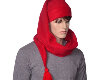 Extra Long Stocking Cap Red Adult Men Women Scarf Hat 5 Foot Long Tail Hat with Tassel